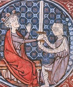 David I of Scotland knighting a squire Unknown - http://manuscriptminiatures.com/3913/14012/ ~ Public Domain
